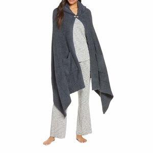 Barefoot Dreams CozyChic Blue Hooded Pocket Shawl